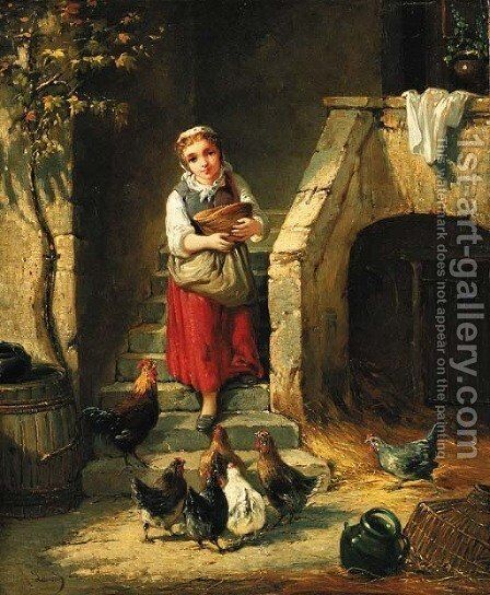 Feeding the chickens by Continental School - Reproduction Oil Painting