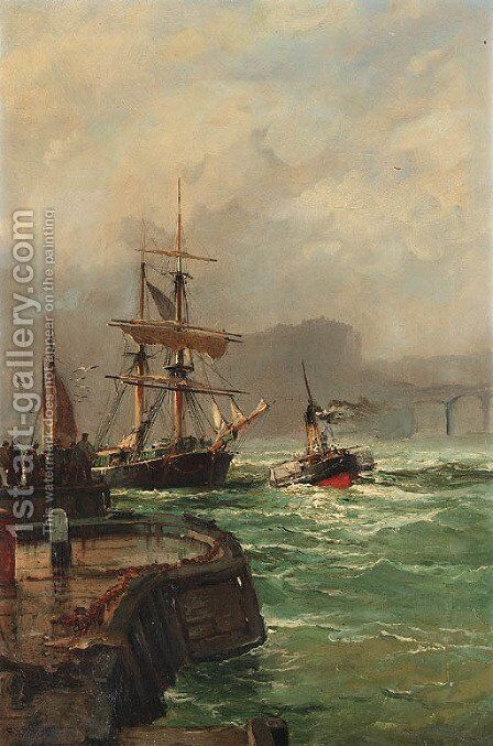 Harbor from the jetty by Continental School - Reproduction Oil Painting