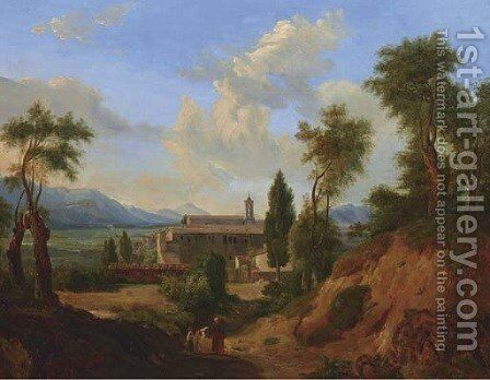 Italian Landscape with Monastery by Continental School - Reproduction Oil Painting