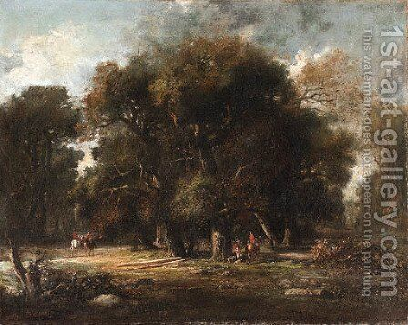 Landscape with huntsmen by Continental School - Reproduction Oil Painting