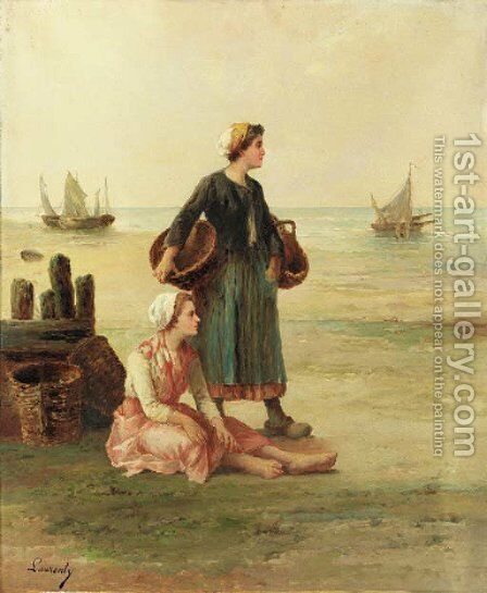 The fisherman's wives by Continental School - Reproduction Oil Painting