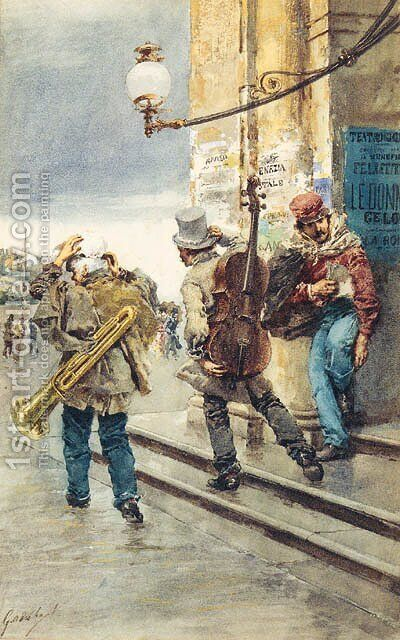 The Strolling Musicians by Continental School - Reproduction Oil Painting