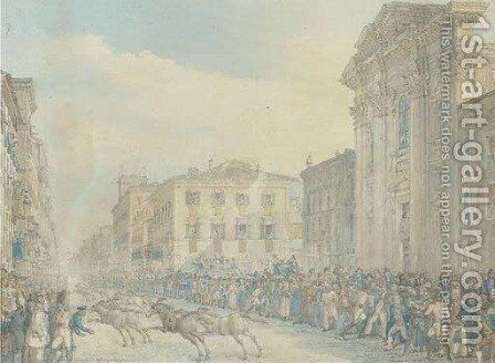 Horses triumphantly charging through an Italian town, thought to be Turin by Continental School - Reproduction Oil Painting