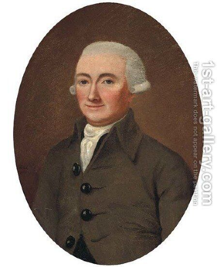 Portrait of a gentleman in a grey coat and short wig by Continental School - Reproduction Oil Painting