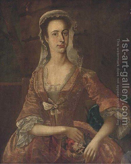 Portrait of a lady by Continental School - Reproduction Oil Painting