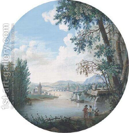 Figures on the riverbank by Continental School - Reproduction Oil Painting
