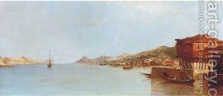A calm day off a Mediterranean harbour, thought to be Corsica by Continental School - Reproduction Oil Painting
