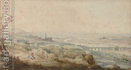 A couple relaxing looking towards a town by Continental School - Reproduction Oil Painting
