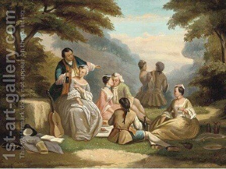 A fete champetre by Continental School - Reproduction Oil Painting