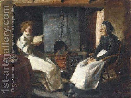 A fireside story by Continental School - Reproduction Oil Painting
