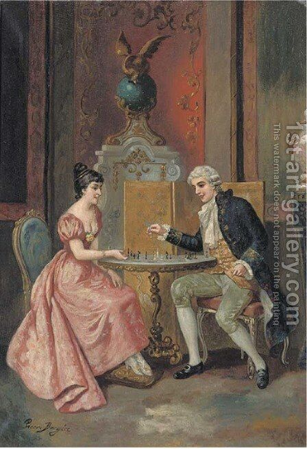 A game of chess by Continental School - Reproduction Oil Painting