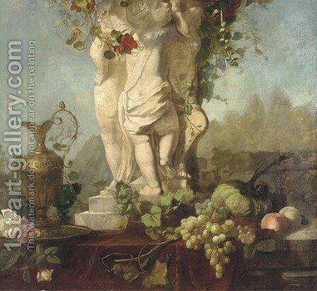 A Grecian statue with fruit and foliage and a bronze ewer by Continental School - Reproduction Oil Painting