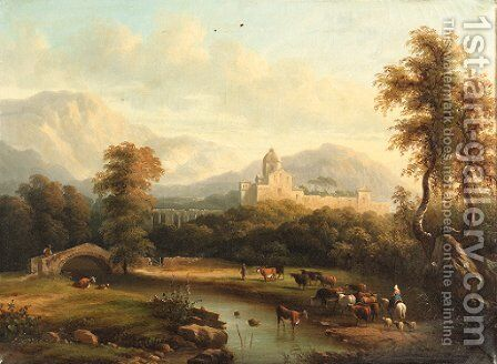 A mountainous river landscape with a drover by Continental School - Reproduction Oil Painting