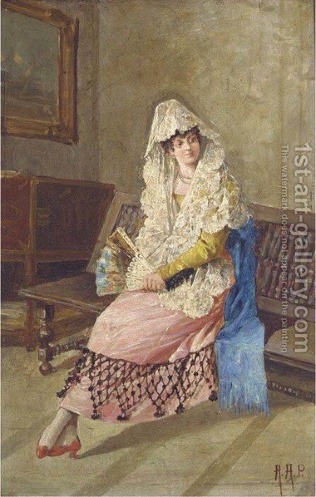 A seated lady in lady in spanish dress by Continental School - Reproduction Oil Painting