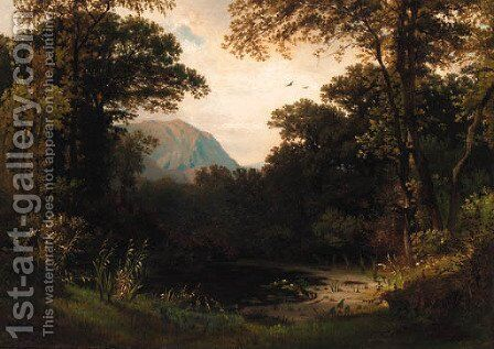 A woodland pond with mountains beyond by Continental School - Reproduction Oil Painting