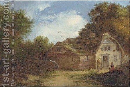 Afternoon break outside the mill by Continental School - Reproduction Oil Painting