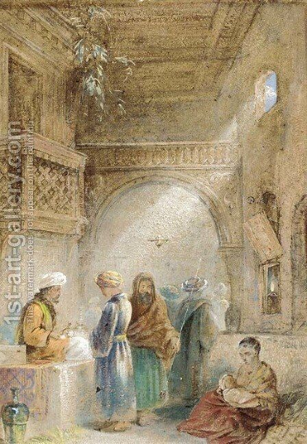 An Eastern bazaar by Continental School - Reproduction Oil Painting