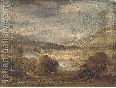 An extensive river landscape by Continental School - Reproduction Oil Painting