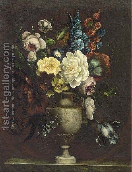 Assorted flowers in an urn on a stone ledge by Continental School - Reproduction Oil Painting