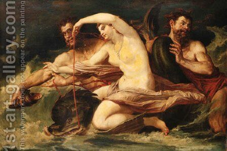 Neptune and Amphitrite by Continental School - Reproduction Oil Painting