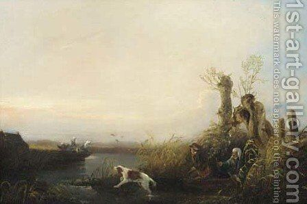 Duck shooting by Continental School - Reproduction Oil Painting