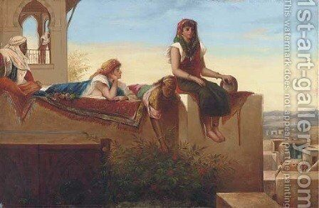 Eastern beauties reclining on a rooftop by Continental School - Reproduction Oil Painting