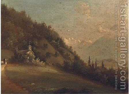 Figures in an Alpine landscape beside a church; and Another similar by Continental School - Reproduction Oil Painting