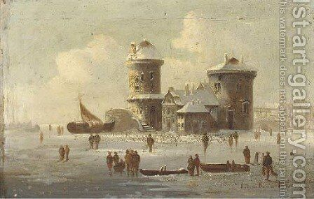 Figures on a frozen lakescape by Continental School - Reproduction Oil Painting