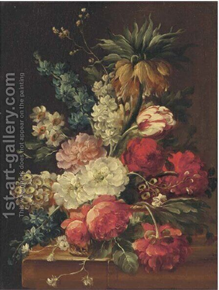 Flowers in a bowl on a stone ledge by Continental School - Reproduction Oil Painting