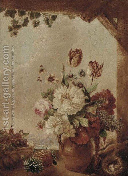 Flowers in a jug, a bird's nest and fruit on a window ledge by Continental School - Reproduction Oil Painting