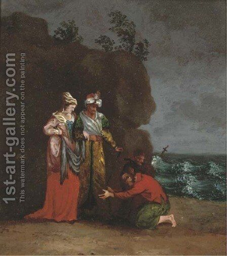 Greeting the ship-wrecked travellers by Continental School - Reproduction Oil Painting