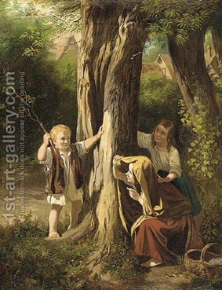 Hide and seek by Continental School - Reproduction Oil Painting