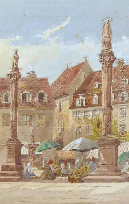 In the market square by Continental School - Reproduction Oil Painting