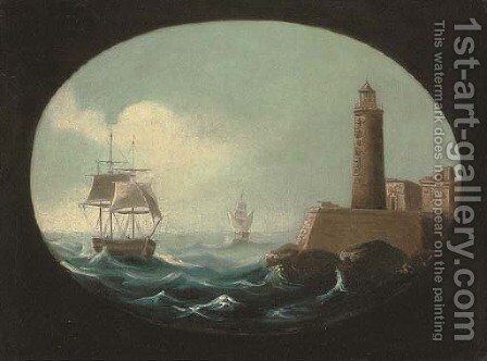 Making port in heavy weather by Continental School - Reproduction Oil Painting