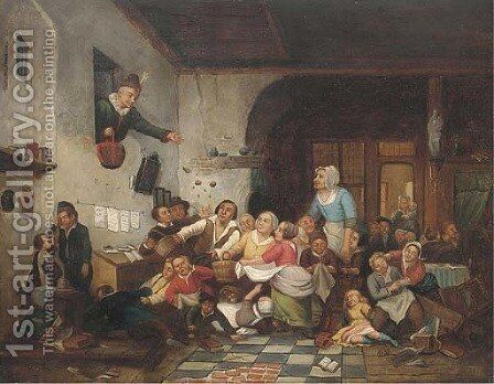 Melee at the hand-out by Continental School - Reproduction Oil Painting