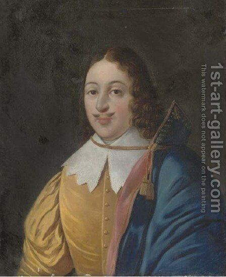 Portrait of a cavalier by Continental School - Reproduction Oil Painting