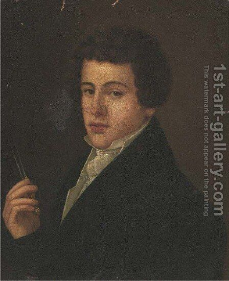 Portrait of a gentleman, bust-length, holding a pair of dividers by Continental School - Reproduction Oil Painting