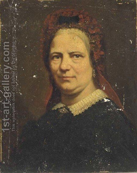 Portrait of a lady, bust-length, with a red head-dress by Continental School - Reproduction Oil Painting