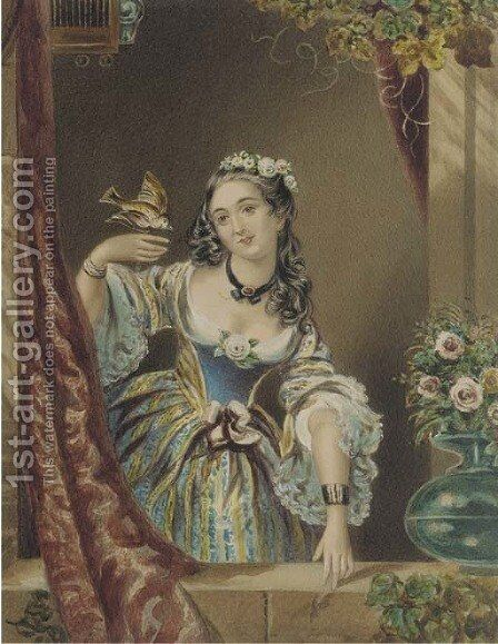 Portrait of a young lady by a ledge, with a bird in her hand by Continental School - Reproduction Oil Painting