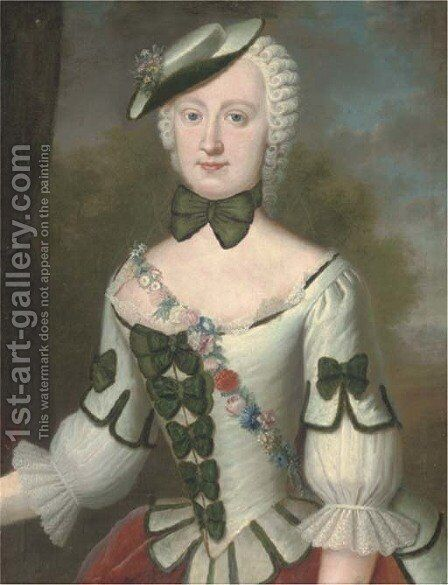 Portrait of Helene v. Mutnchhausen by Continental School - Reproduction Oil Painting