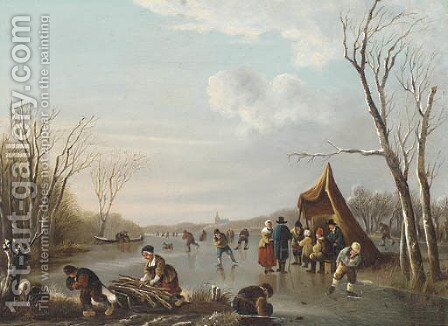 Refreshments for the skaters by Continental School - Reproduction Oil Painting