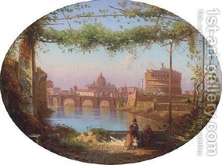 Rome, from the Tiber by Continental School - Reproduction Oil Painting