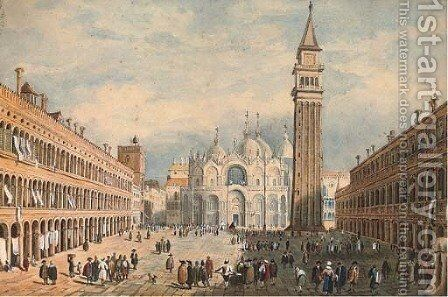 St Mark's Square, Venice (illustrated); and A view of a German town on the Rhine by Continental School - Reproduction Oil Painting
