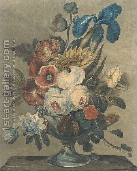 Flowers by Continental School - Reproduction Oil Painting
