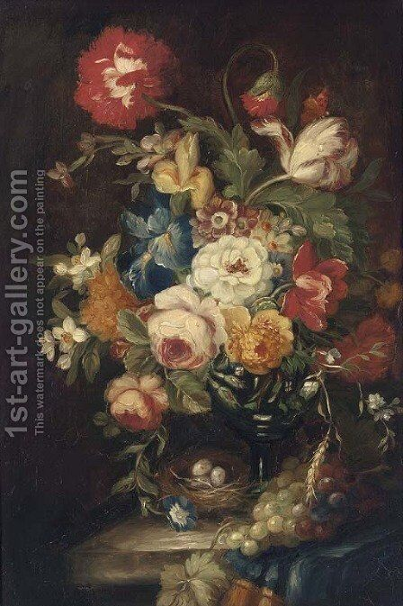 Summer flowers in a vase on a stone ledge with a bird's nest by Continental School - Reproduction Oil Painting