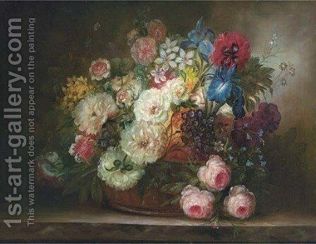 Summer flowers in a wicker basket by Continental School - Reproduction Oil Painting