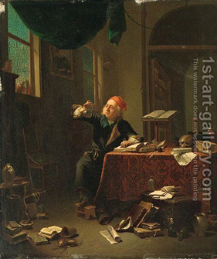 The alchemist by Continental School - Reproduction Oil Painting