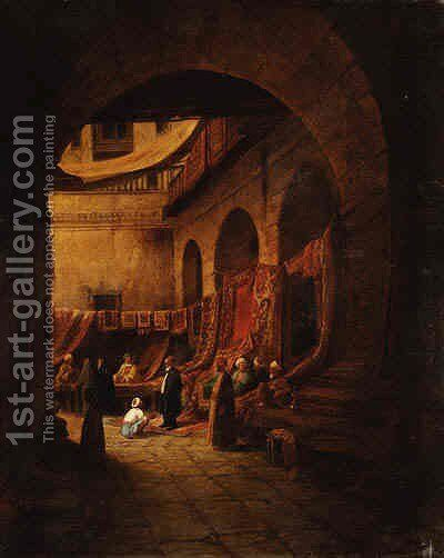 The Arab Rug Merchants by Continental School - Reproduction Oil Painting