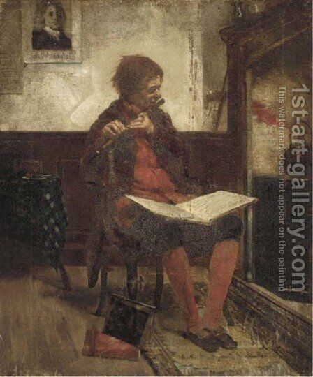 The flute player by Continental School - Reproduction Oil Painting
