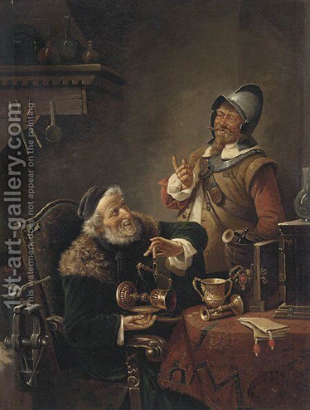 The pawnbroker by Continental School - Reproduction Oil Painting
